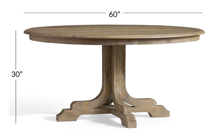 Linden Round Pedestal Dining Table, 60 Round Pedestal Dining Table