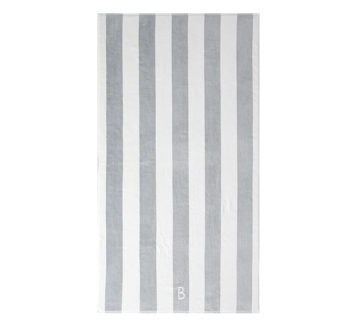 Reversible Awning Striped Organic Beach Towel - Gray/Blue