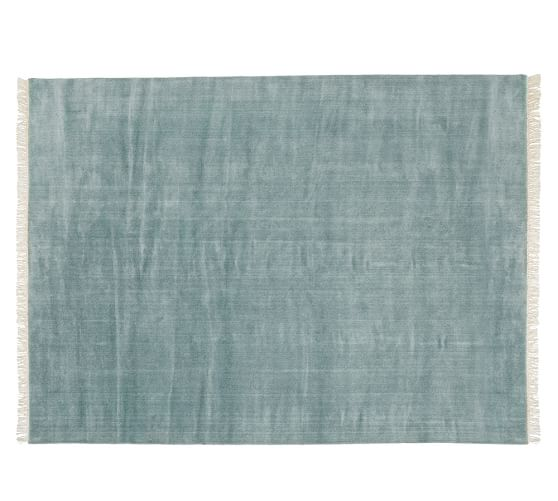 Fringed Hand Loomed Rug Blue Smoke