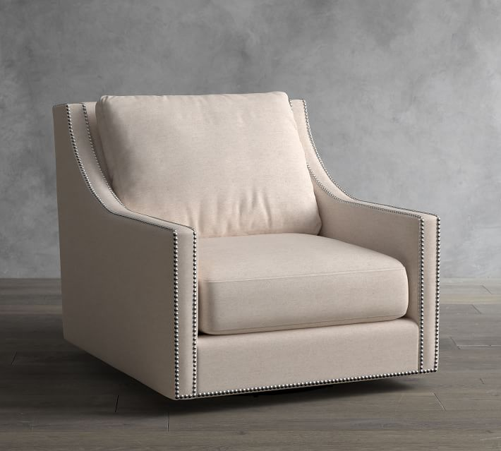 Pasadena Upholstered Swivel Armchair Pottery Barn
