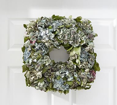 Dried Hydrangea Amp Salal Square Wreath Pottery Barn