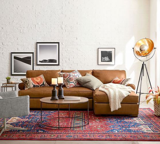 Townsend Roll Arm Leather Chaise Sofa