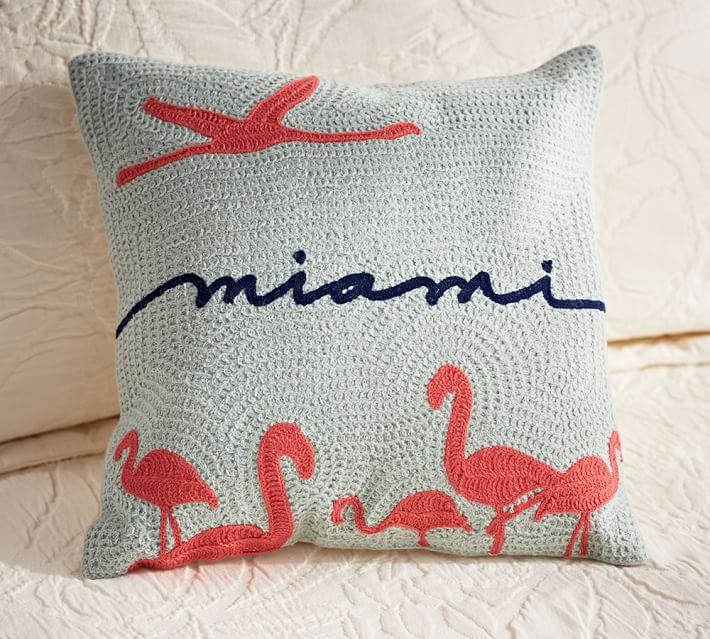 Miami Crewel Embroidered Decorative Pillow Pottery Barn