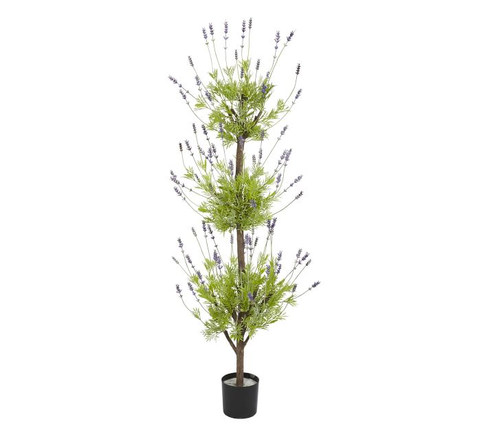 Faux Potted Lavender Topiary Tree