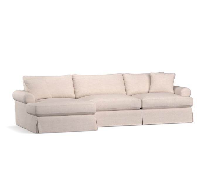 Sullivan Roll Arm Deep Seat Slipcovered Chaise Sectional ...