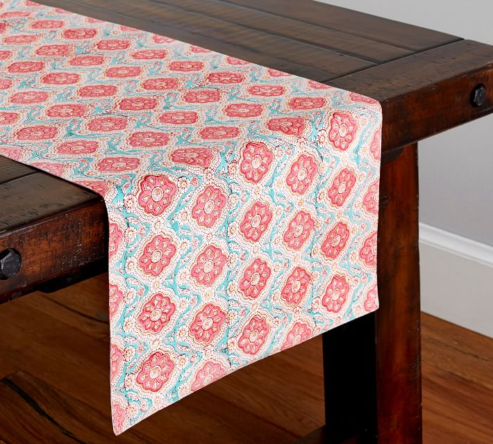 Block Print Akari Medallion Table Runner Pottery Barn