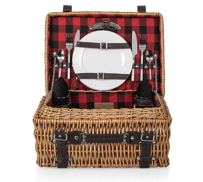 Buffalo Check Woven Picnic Basket Set For 2 Pottery Barn