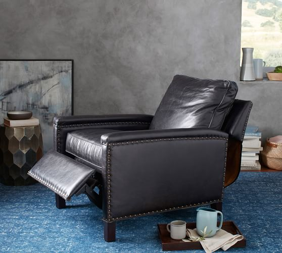 Tyler Leather Square Arm Recliner With Nailheads