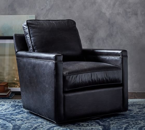 Tyler Square Arm Leather Swivel Armchair