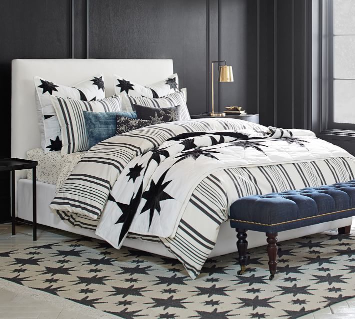 Raleigh Square Upholstered Low Bed Pottery Barn