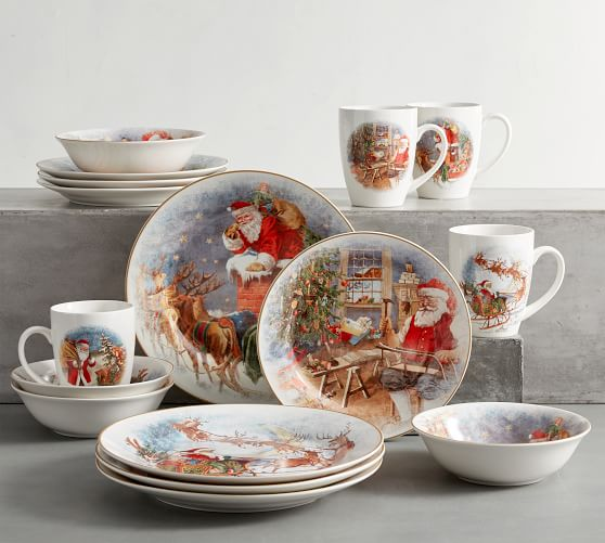 Santa's Journey 16-Piece Dinnerware Set - Assorted