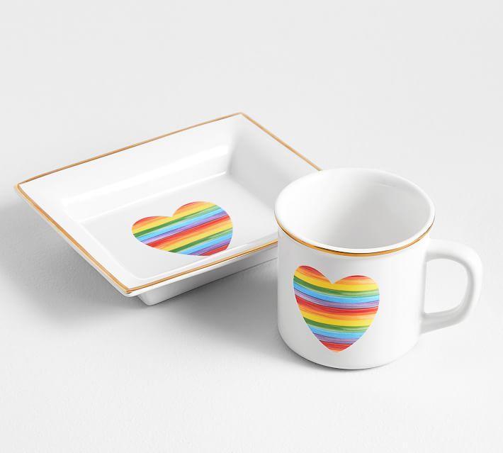Rainbow Heart Pride Mug and Dish