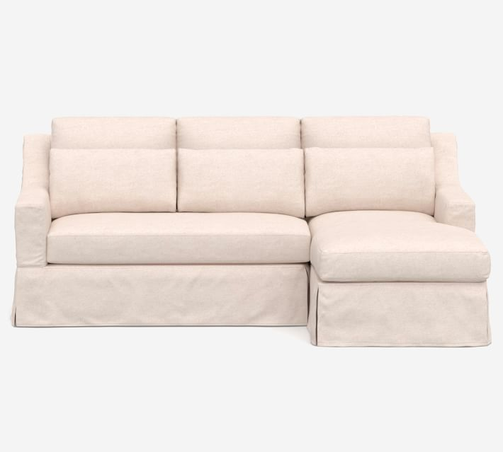 York Slope Arm Deep Seat Slipcovered Chaise Sofa Sectional