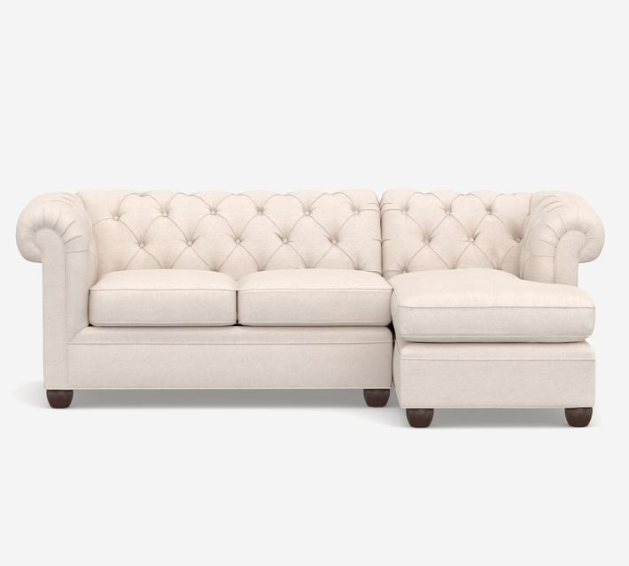 Chesterfield Roll Arm Upholstered Sofa Chaise Sectional
