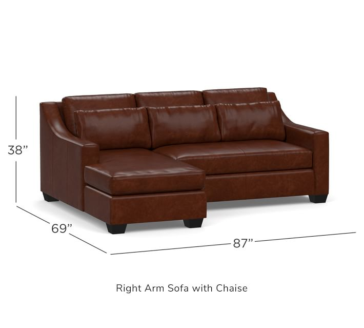 York Slope Arm Deep Seat Leather Chaise Sofa Sectional ...