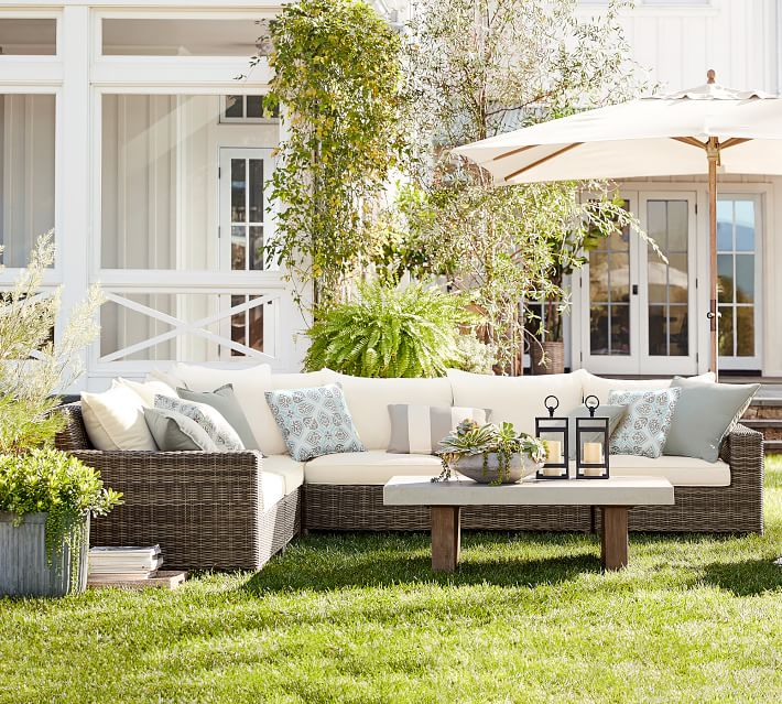 Torrey All Weather Wicker Square Arm Outdoor Sectional Set
