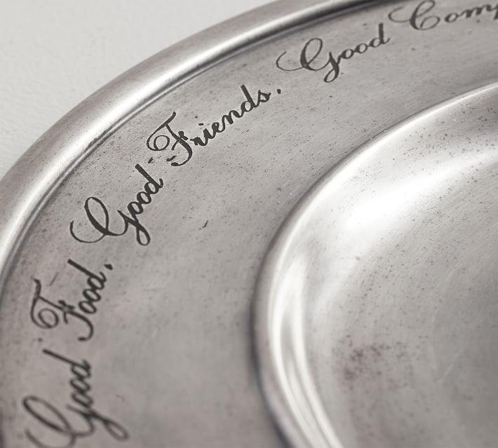 Antique Silver Sentiment Charger Pottery Barn