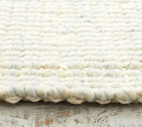 Chunky Wool Jute Rug Ivory Chambray