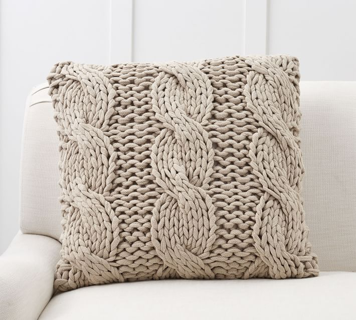 Colossal Handknit Pillow Cover, 24 x 24