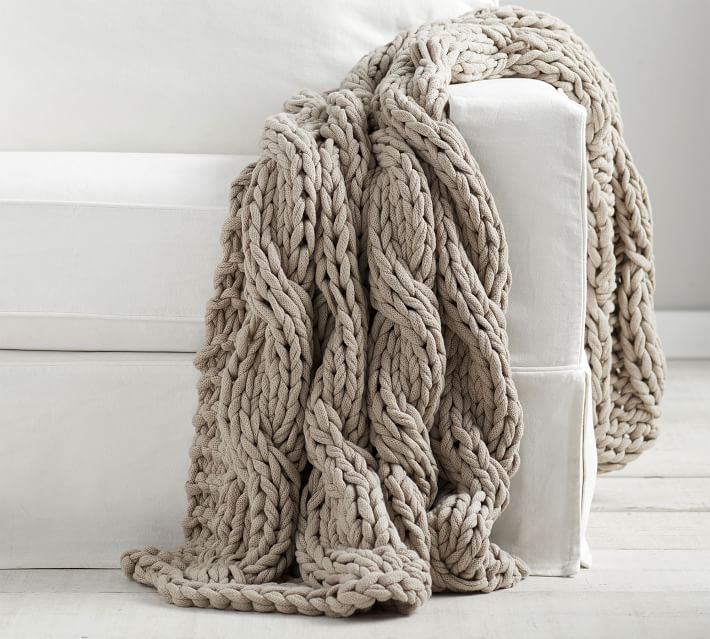 Colossal Handknit Throw, 44 x 56, Pottery Barn. #cableknit #knitthrow #homedecor #hyggeliving