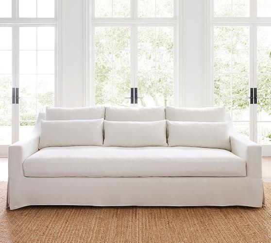 Arm Deep Seat Slipcovered Fabric Sofa
