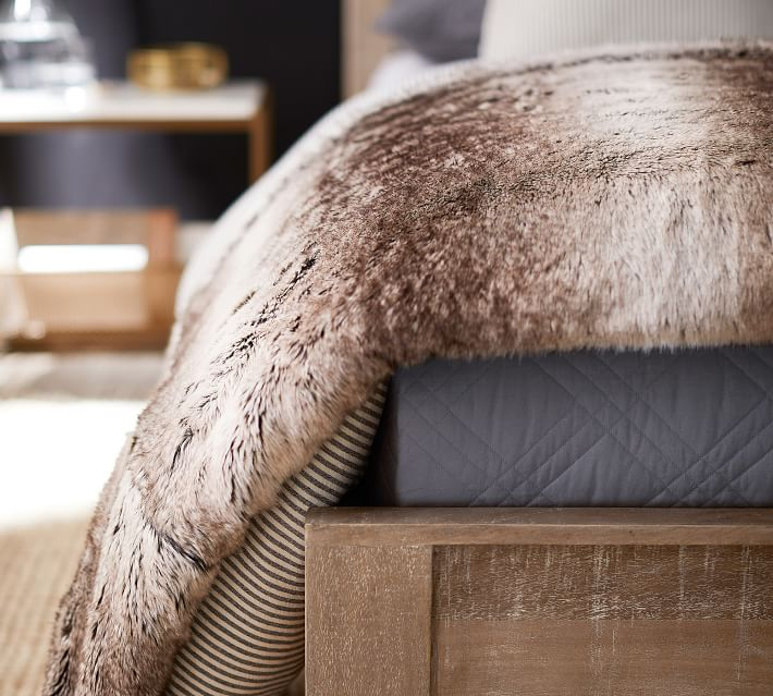 Faux Fur Ombre Throw Blankets Pottery Barn