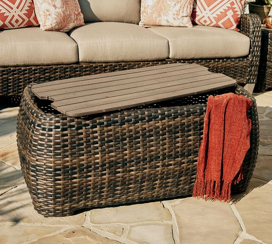 Abrego All Weather Wicker Rectangular Storage Coffee Table Pottery Barn
