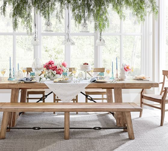 Perfect Pair Benchwright Extending Dining Table With Bench Pottery Barn