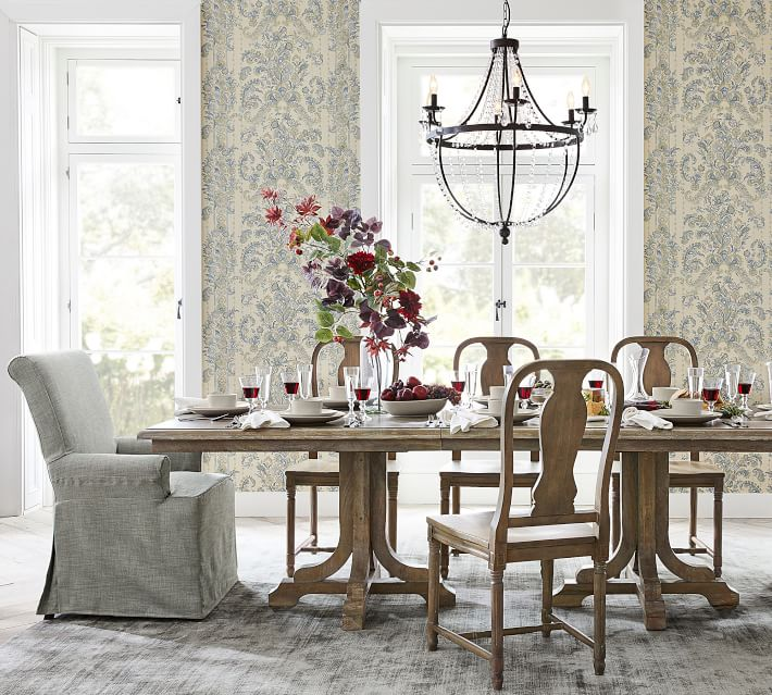 Perfect Pair: Linden Dining Table + Mabry Chair & PB Comfort Roll Slipcovered Armchair