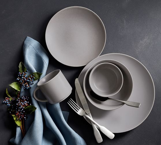 Mason Stoneware 16-Piece Dinnerware Set - Graphite Gray