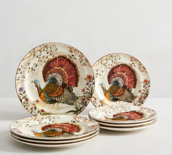 Botanical Harvest Turkey Stoneware 8-Piece Dinnerware Set