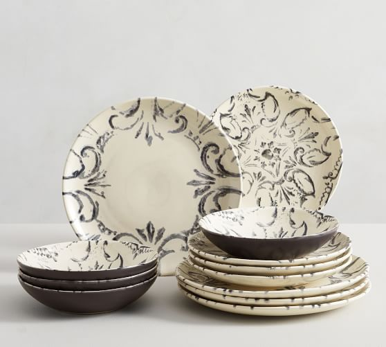 Scroll Stoneware 12-Piece Dinnerware Set