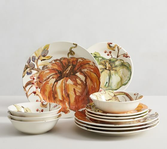 Harvest Pumpkin Stoneware 12-Piece Dinnerware Set