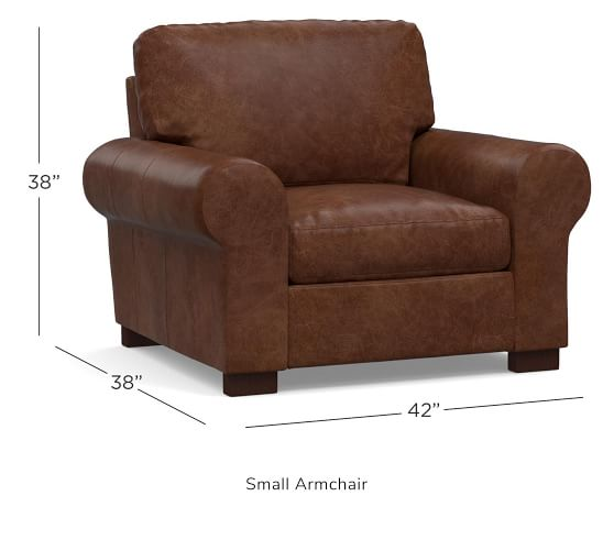 Turner Roll Arm Leather Armchair | Pottery Barn