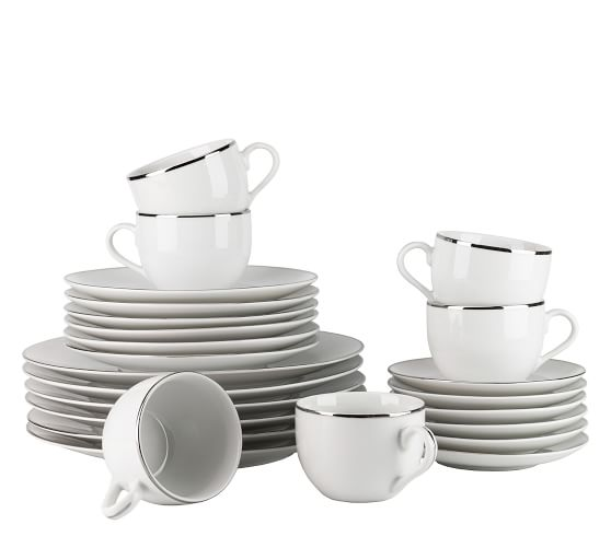 Metallic Rim Coupe Porcelain 24-Piece Dinnerware Set