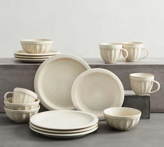 Mendocino Stoneware 16-Piece Dinnerware Set - Ivory