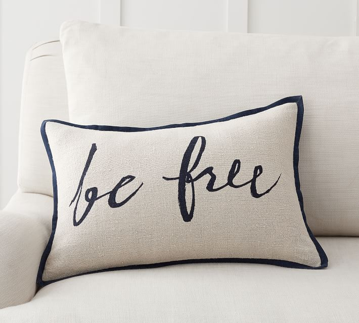 Be Free Linen Printed Pillow Cover