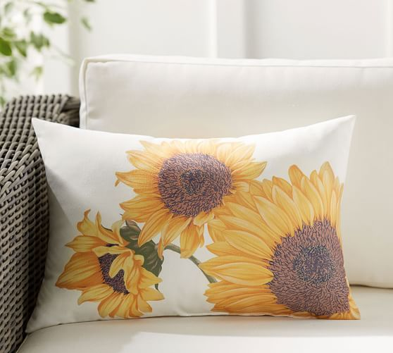 Botanical Sunflower Indoor Outdoor Lumbar Pillow Pottery Barn