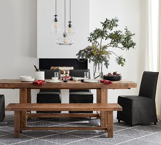 Perfect Pair Reed Extending Dining Table With Reed Bench Carissa Chair Pottery Barn