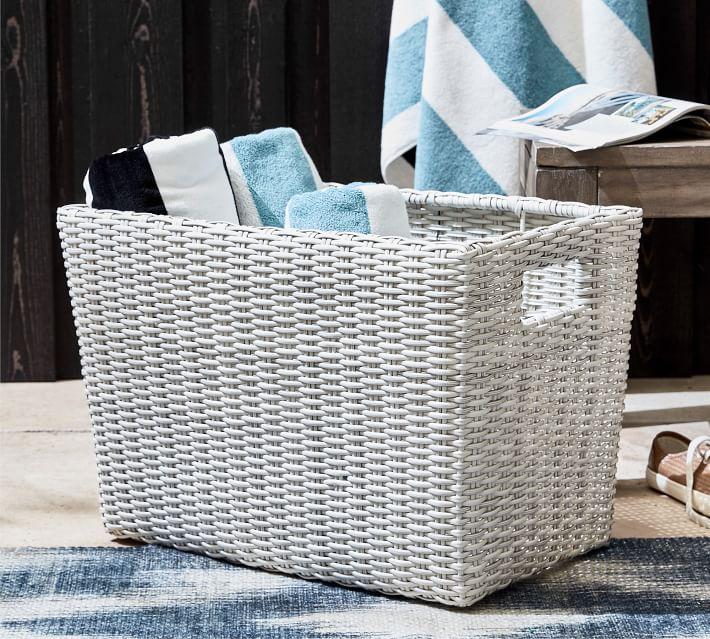 Torrey All Weather Wicker Baskets White Wash Pottery Barn