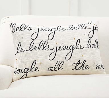 Jingle Bells Embroidered Lumbar Pillow Cover Pottery Barn