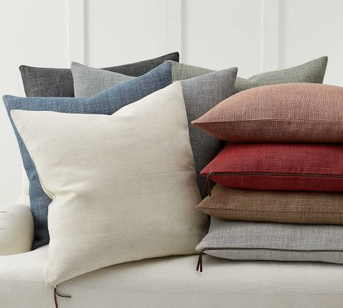 Belgian Flax linen pillow cover in bone - Pottery Barn.