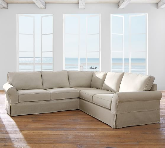 Shop PB Comfort Roll Arm Slipcovered 3-Piece L-Sectional from Pottery Barn on Openhaus