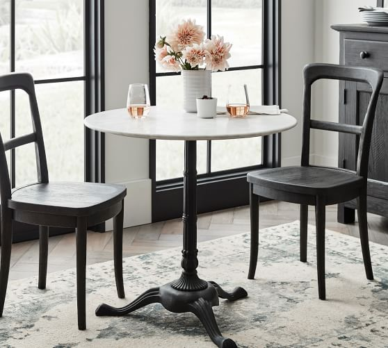 Rae Round Marble Pedestal Bistro Dining Table Pottery Barn