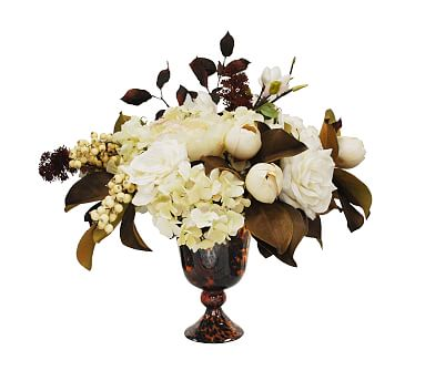 Faux Autumn Rose Hydrangea Arrangement In Glass Vase Artificial Flowers Pottery Barn