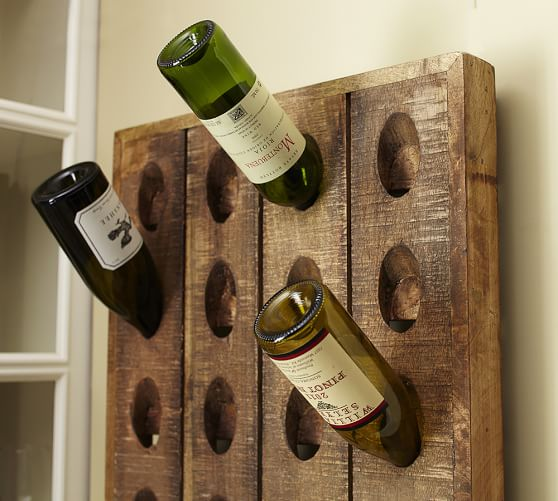 Shop French Wine Bottle Riddling Wall Rack from Pottery Barn on Openhaus