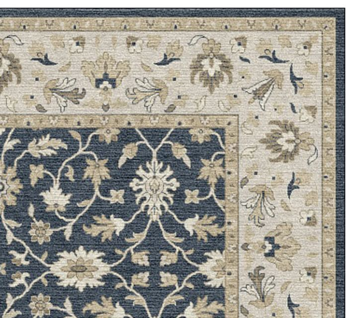 Malika Persian Style Hand Tufted Wool Rug Blue Multi