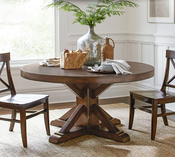 Benchwright Round Pedestal Dining Table Pottery Barn