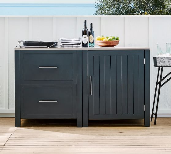 Indio Metal Outdoor Kitchen Two Drawer Single Door Cabinet Slate Pottery Barn