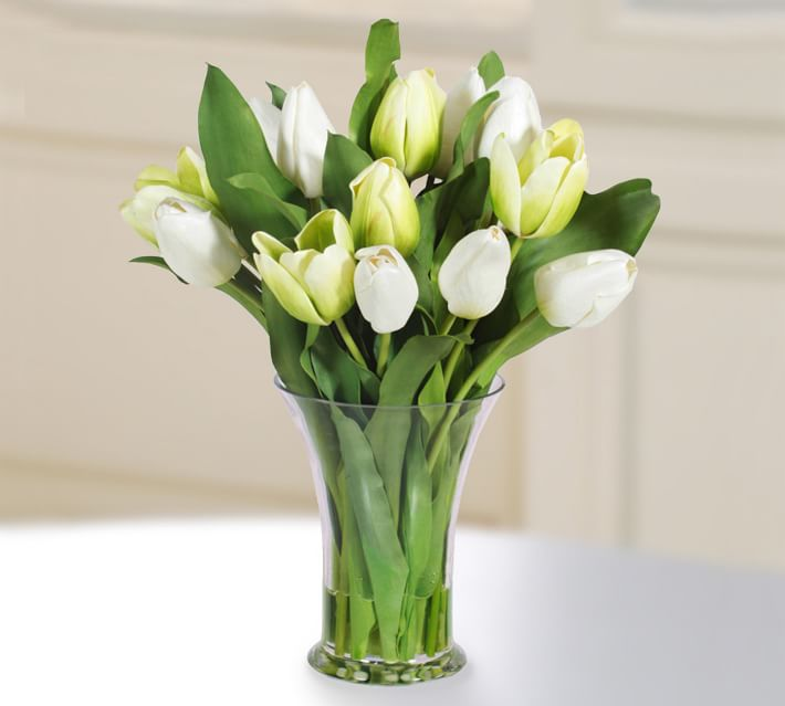 Faux Tulip In Glass Vase Artificial Flowers Pottery Barn